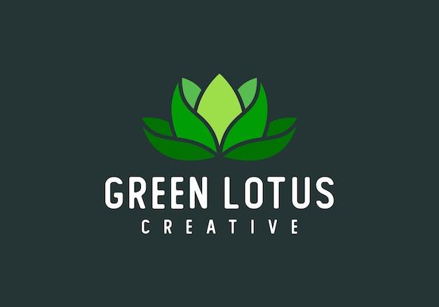 Зеленый лотос современный абстрактный логотип вектор Premium векторы