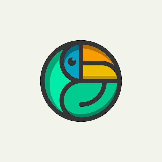 Значок логотипа знак птица Premium векторы