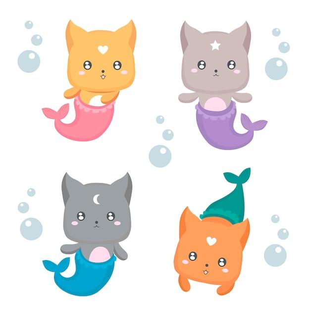 人魚の子猫セット Premiumベクター