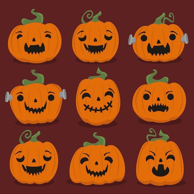 ハロウィンかぼちゃセット Premiumベクター