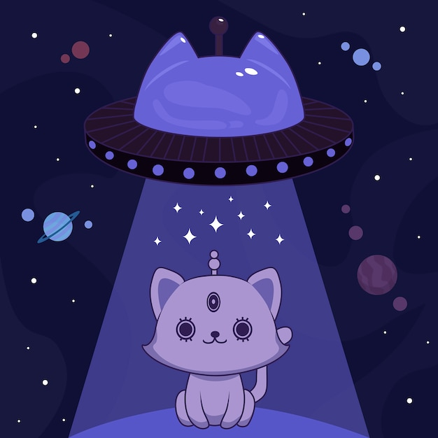Синий инопланетный кот Premium векторы