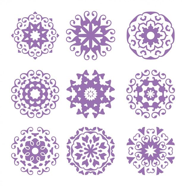 Набор из круга украшения, абстрактный логотип, цветочный арт-пакет, коллекция Premium векторы