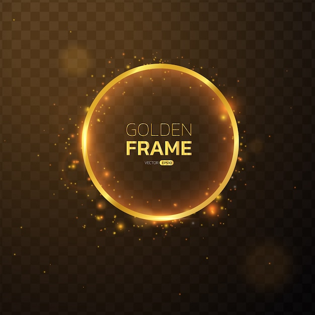 ライト付きゴールデンフレームは、円形バナー効果を発揮します。 Premiumベクター