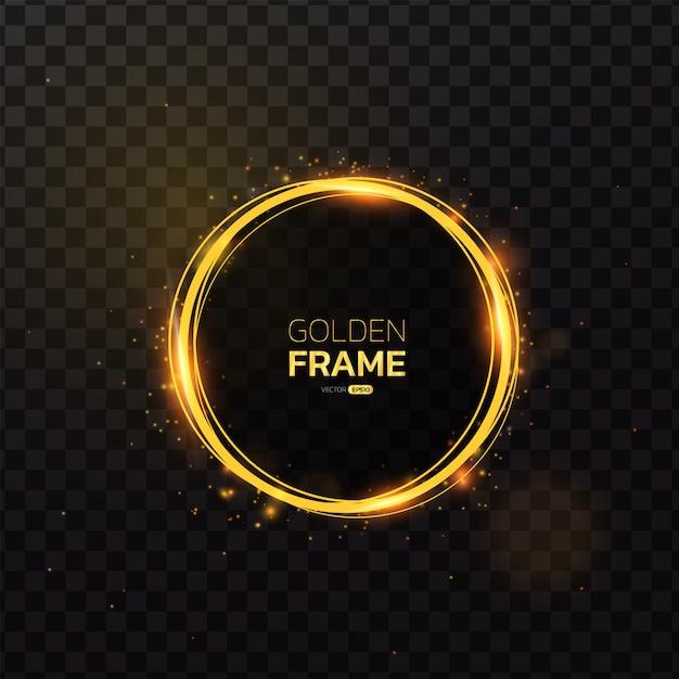 Золотая рамка со световым эффектом. Premium векторы