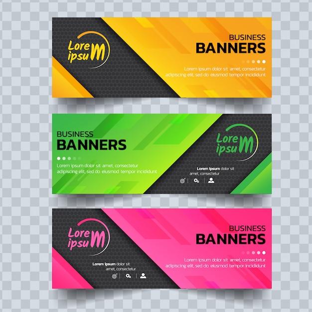 Абстрактные красочные шаблоны баннеров. Premium векторы