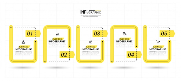Шаблон бизнес инфографики с пятью шагами Premium векторы