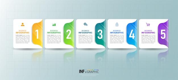 Инфографики шаблон с пятью шагами Premium векторы