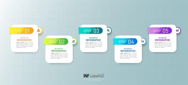 Хронология пяти шагов инфографика дизайн Premium векторы