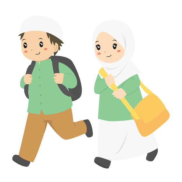 イスラム教徒の学生が学校に走って Premiumベクター