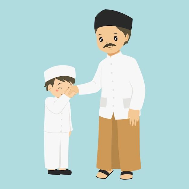 Маленький мальчик целует руку своего отца, символ вектор Premium векторы