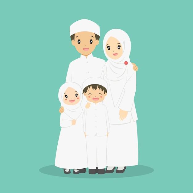 Счастливый мусульманский семейный вектор Premium векторы