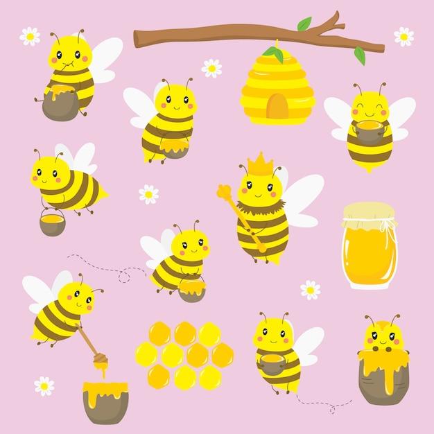 Милые летающие пчелы и набор элементов меда. Premium векторы