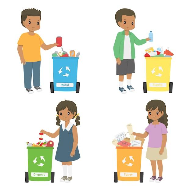 リサイクルのためにゴミを集めるアフリカ系アメリカ人の子供たち。ゴミ箱セットの並べ替え Premiumベクター