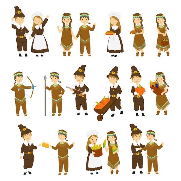 感謝祭の巡礼者と原住民のカップル文字漫画のベクトル Premiumベクター