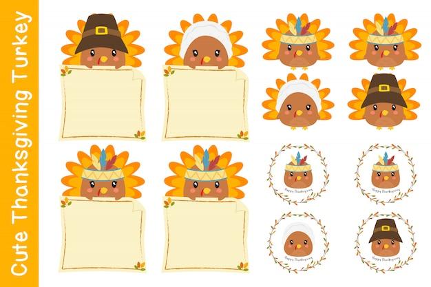 かわいい感謝祭のキャラクターとトルコのベクトルコレクション。 Premiumベクター
