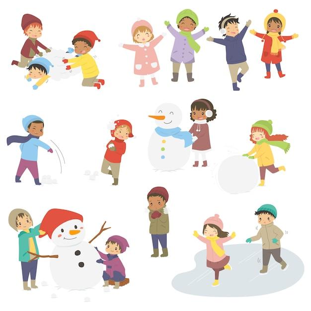 冬休みに幸せな子供のベクトルを設定します。 Premiumベクター
