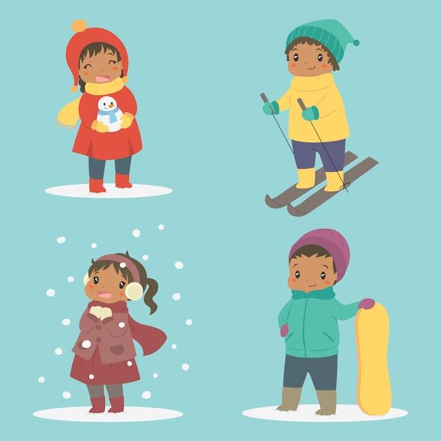 冬の休日ベクトルセットで遊んで幸せなアフリカ系アメリカ人の子供 Premiumベクター