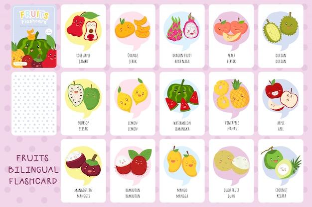 Набор двуязычных карточек с милыми тропическими фруктами Premium векторы