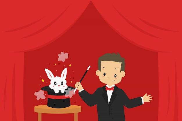 手品を行う魔術師と帽子から飛び出すウサギ、イラスト。 Premiumベクター