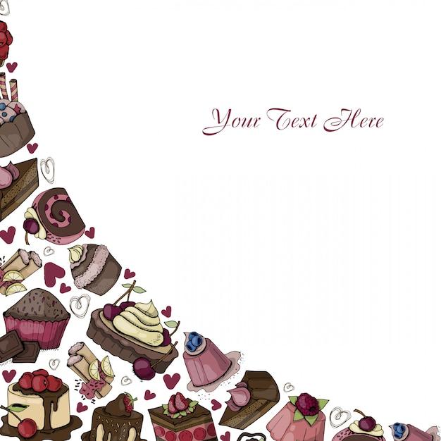 ケーキのベクトルコーナーフレーム Premiumベクター