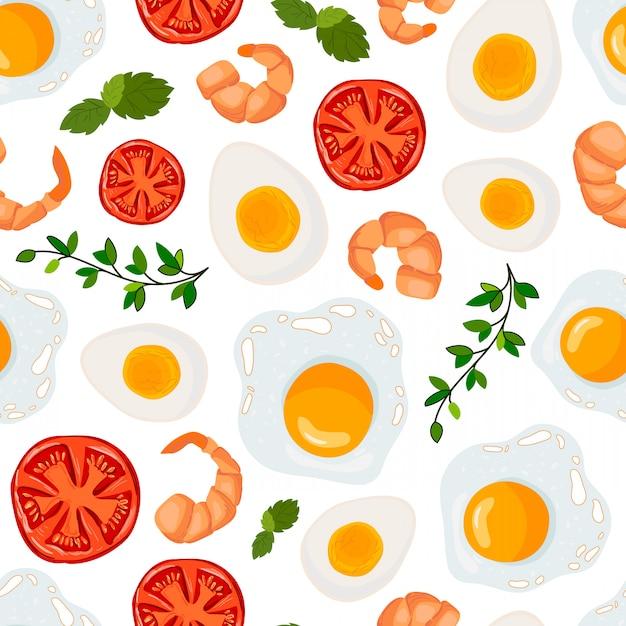 Бесшовный узор вектор с жареным яйцом, креветками, помидорами Premium векторы