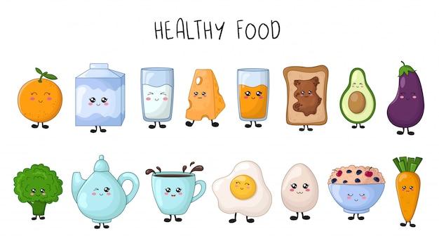 Набор каваий здоровой пищи - фрукты, овощи, молоко, каша, яйцо Premium векторы