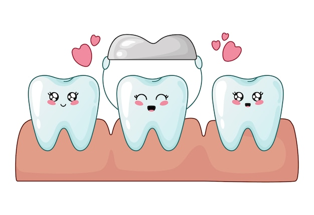 健康的なカワイイ歯とメタルクラウンの歯 Premiumベクター