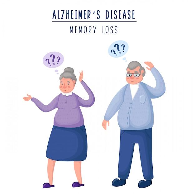 Пара пожилых стариков - мужчина и женщина, расстроенные и смущенные люди, потеря памяти и слабоумие Premium векторы