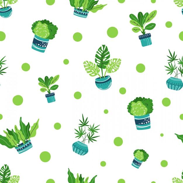 家の植物のシームレスパターン Premiumベクター