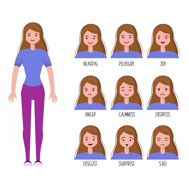 女性の表情セット Premiumベクター