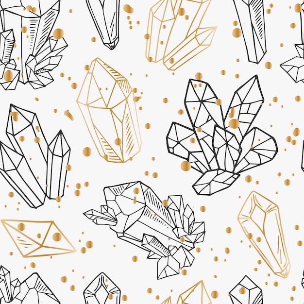 シームレスパターン-黒と金色の輪郭結晶または宝石 Premiumベクター