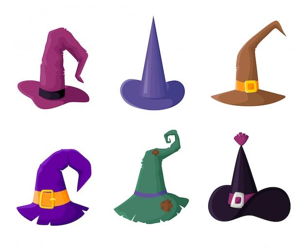 ハロウィーンパーティー、ウィザードヘッドギアクリップアート、分離、アイコンの魔女帽子のセット Premiumベクター