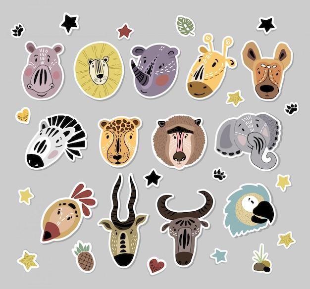 ベクトルステッカーセットかわいいアフリカの動物漫画の顔 Premiumベクター