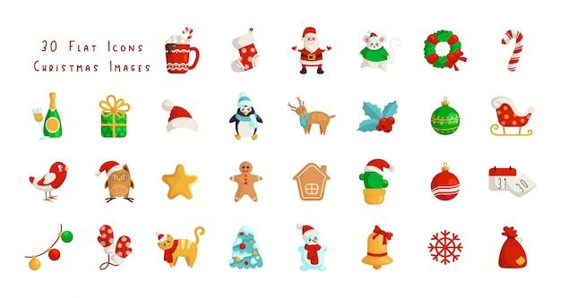 かわいいクリスマスフラットアイコン-サンタクロース、カレンダー、ギフトボックス、クリスマスツリー Premiumベクター