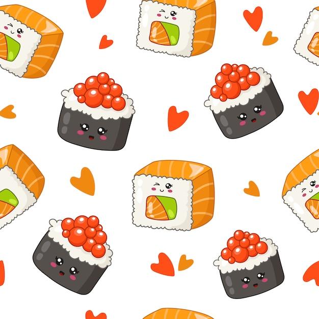 Каваи суши, роллы, палочки для еды, листья бамбука - бесшовный фон или фон, мультяшный смайлик Premium векторы