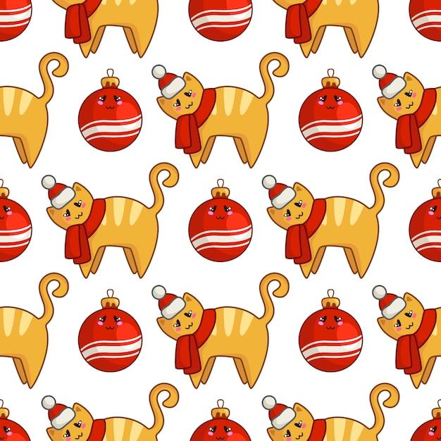 Рождество бесшовные модели с каваий рыжий кот или котенок, одетый в шляпу санта и шарф, декоративные шары Premium векторы