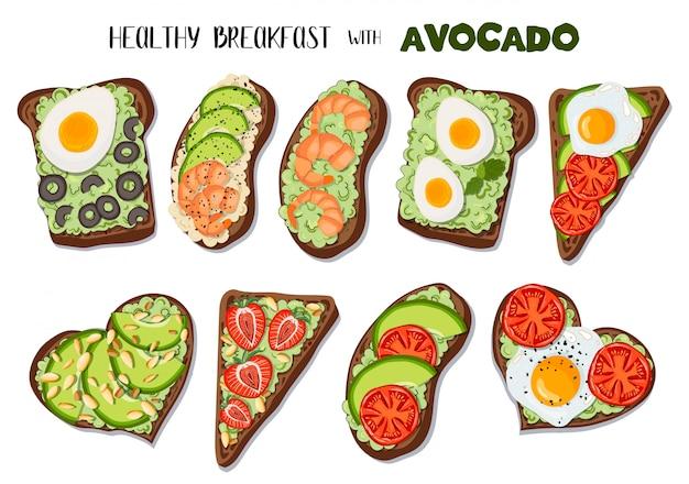 Набор тостов с авокадо Premium векторы