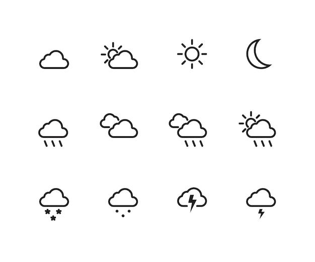 Набор значков погоды Premium векторы