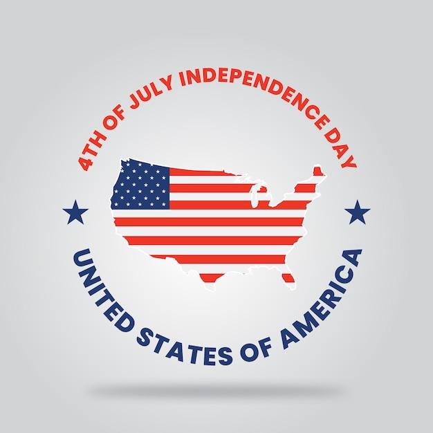 幸せな独立記念日アメリカ合衆国のタイポグラフィー Premiumベクター