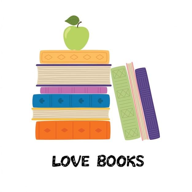本が大好きです。アップルと本のスタック。本ベクターイラストの山 Premiumベクター