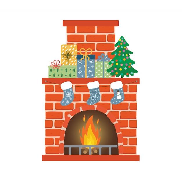 ソックス、クリスマスツリー、プレゼントと赤レンガの暖炉 Premiumベクター