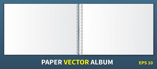 中央に金属製のスパイラルがある紙のアルバム Premiumベクター