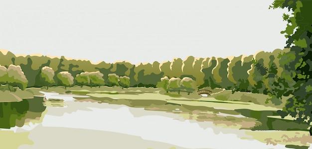カントリーパーク、森の池のパノラマ。 Premiumベクター