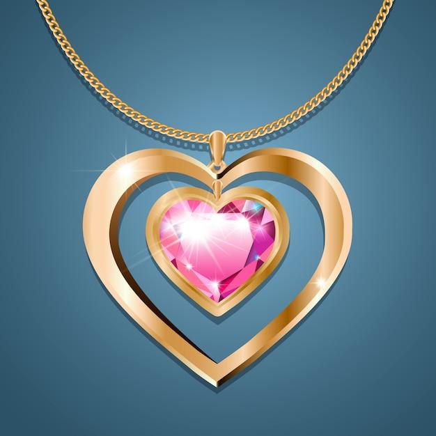 ゴールドチェーンにピンクの石のハートのネックレス Premiumベクター