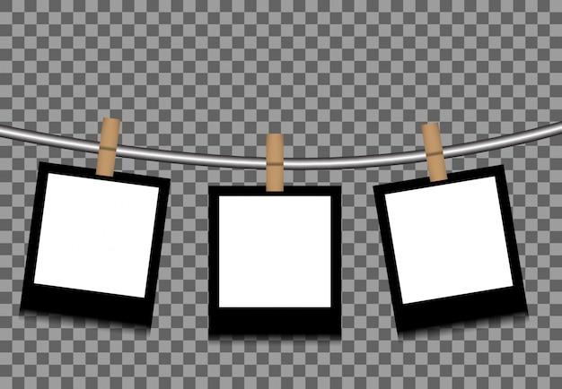 ロープに掛けられた写真 Premiumベクター