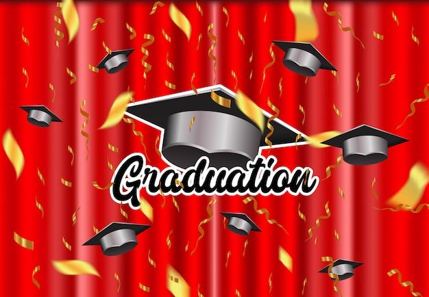 背景のエレガントな卒業 Premiumベクター