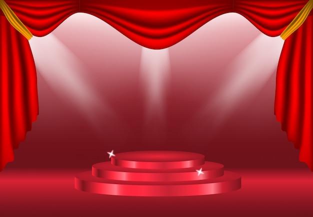 明るい背景の装飾にカーテンと表彰台 Premiumベクター