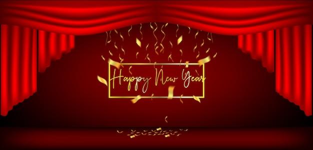 新年デザインの赤いカーテンとリボン Premiumベクター