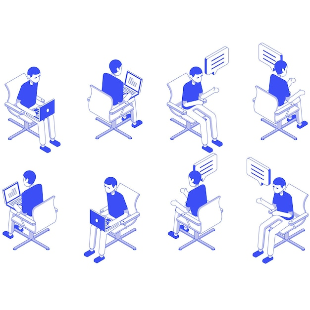 等尺性セット男性オフィスに座る Premiumベクター