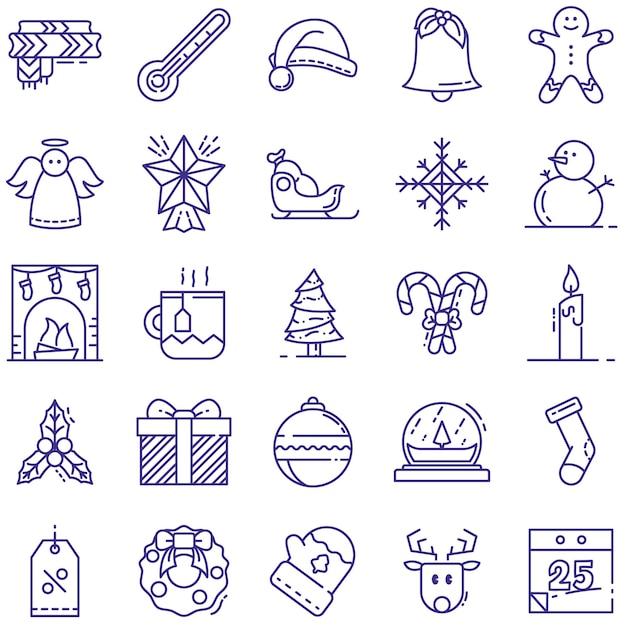 Рождественские иконки линии Premium векторы